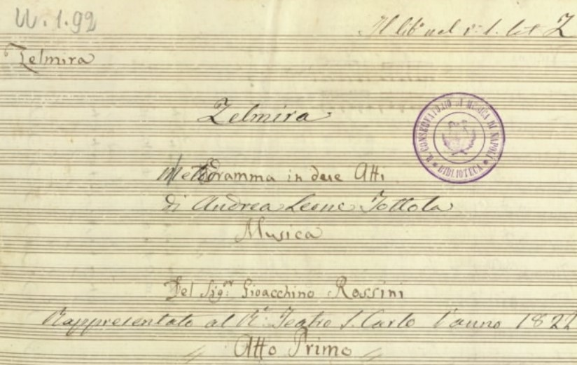 ARTS IN ACTION: the title page of the autograph manuscript of Gioachino Rossini's ZELMIRA, being performed by Washington Concert Opera on 5 April 2019
