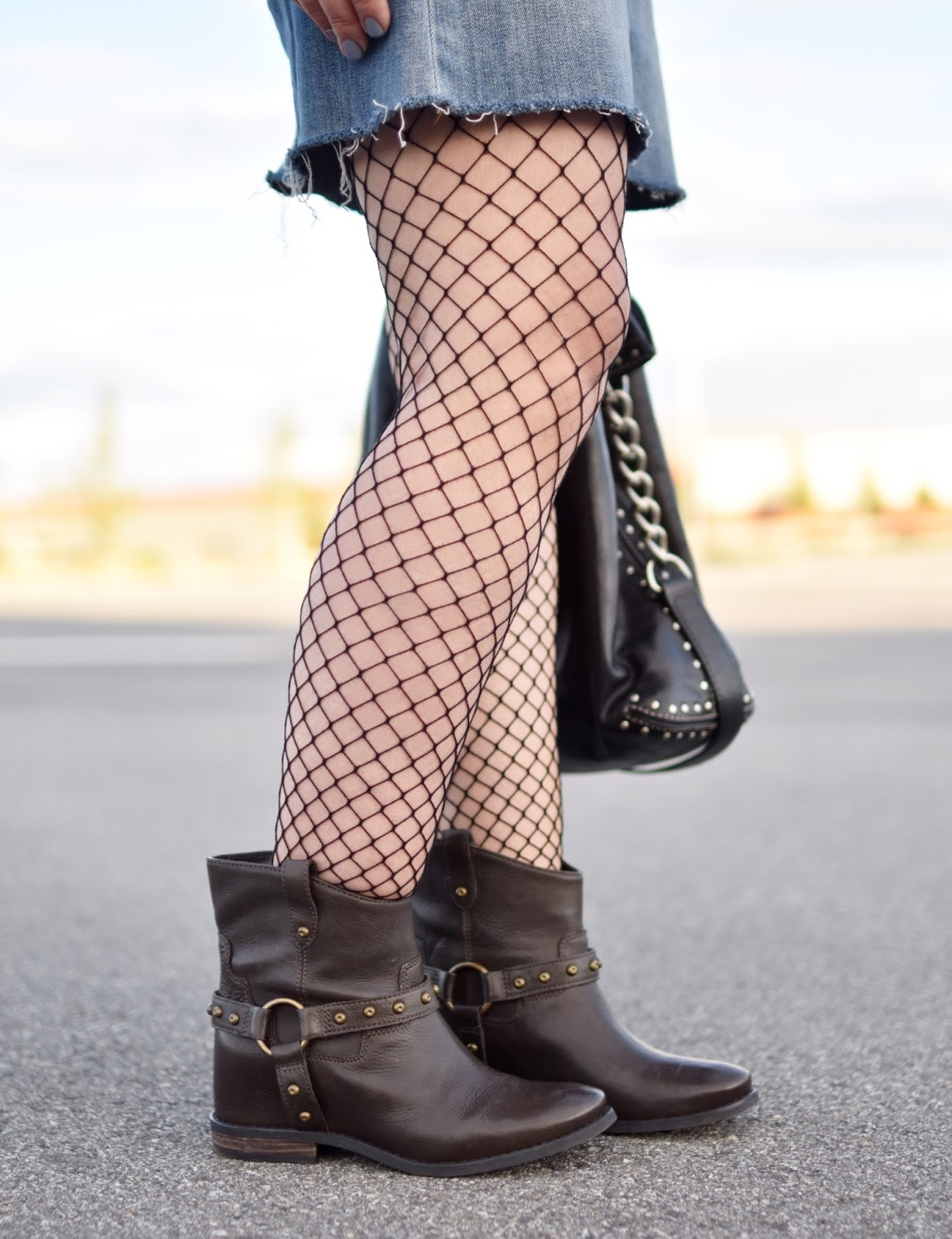 Monika Faulkner outfit inspiration - Enzo Angiolini hidden-wedge booties, fishnet tights