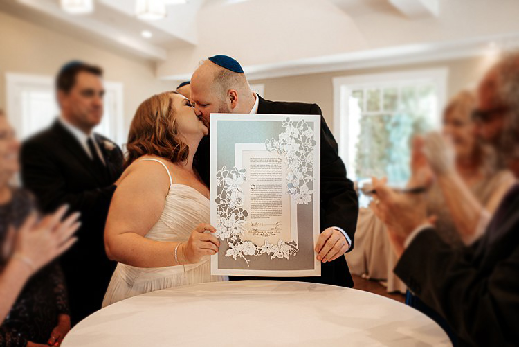 Handmade papercut ketubah for Jewish weddings by Woodland Papercuts. All the way from Israel to the US. Bespoke ketubah made fast and easy. Photo by Vivienne Tyler Photography.