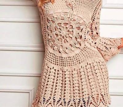 بلوزة فستان قصير بالكروشيه مع الشرح والباترون
