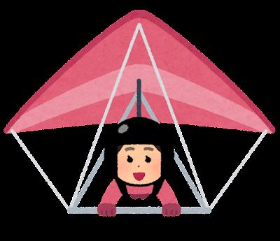 ハンググライダーで飛ぶ人のイラスト(女性)