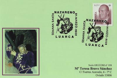 Tarjeta del matasellos de la Semana Santa de Luarca dedicado al Nazareno.