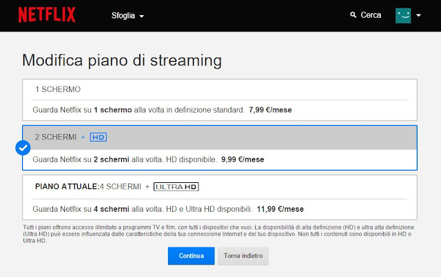 come modificare piano netflix