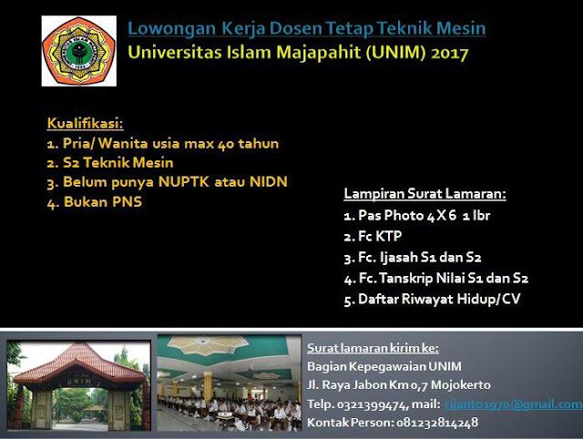 lowongan dosen, dosen teknik mesin, UNIM, Universitas Islam Majapahit, agustus 2017