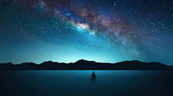 Starry, Night, Sky, Sailboat, Milky Way, Scenery, 4K, #6.970