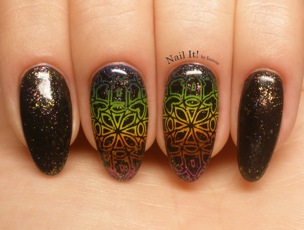 "Dark Rainbow - Dance Legend ""New Beginning"" gel polish & B. Loves Plates ""Classy and Chic"" stamping plate NAIL ART"