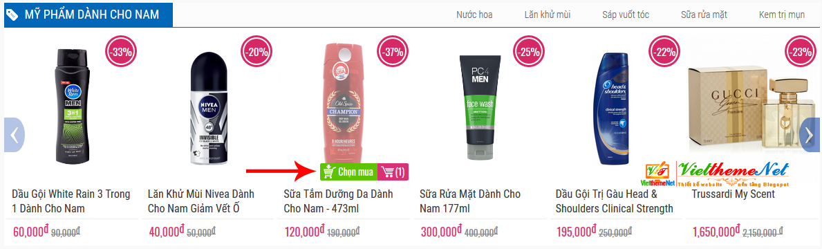 Slide bài sản phẩm theo nhãn