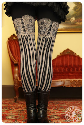 Women's Steampunk Burlesque Garter and Stockings Leggings black