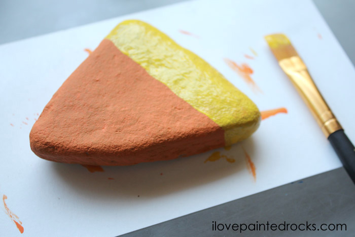 How to paint a halloween candy corn rock