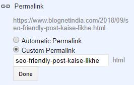 seo friendly post permalink