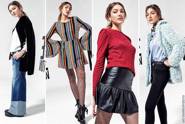 Moda en ropa de mujer invierno 2017. Tendencias de moda en looks casuales urbanos para mujer by Melocotón. Moda 2017.