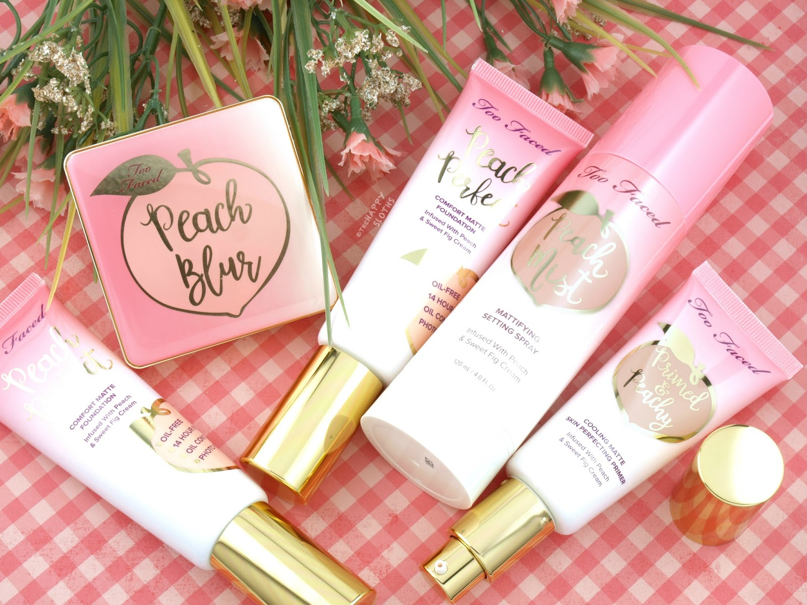 Too Faced Peaches & Cream Collection | Peach Blur Powder, Peach Perfect Foundation, Primed & Peachy Primer & Peach Mist Spray: Review and Swatches