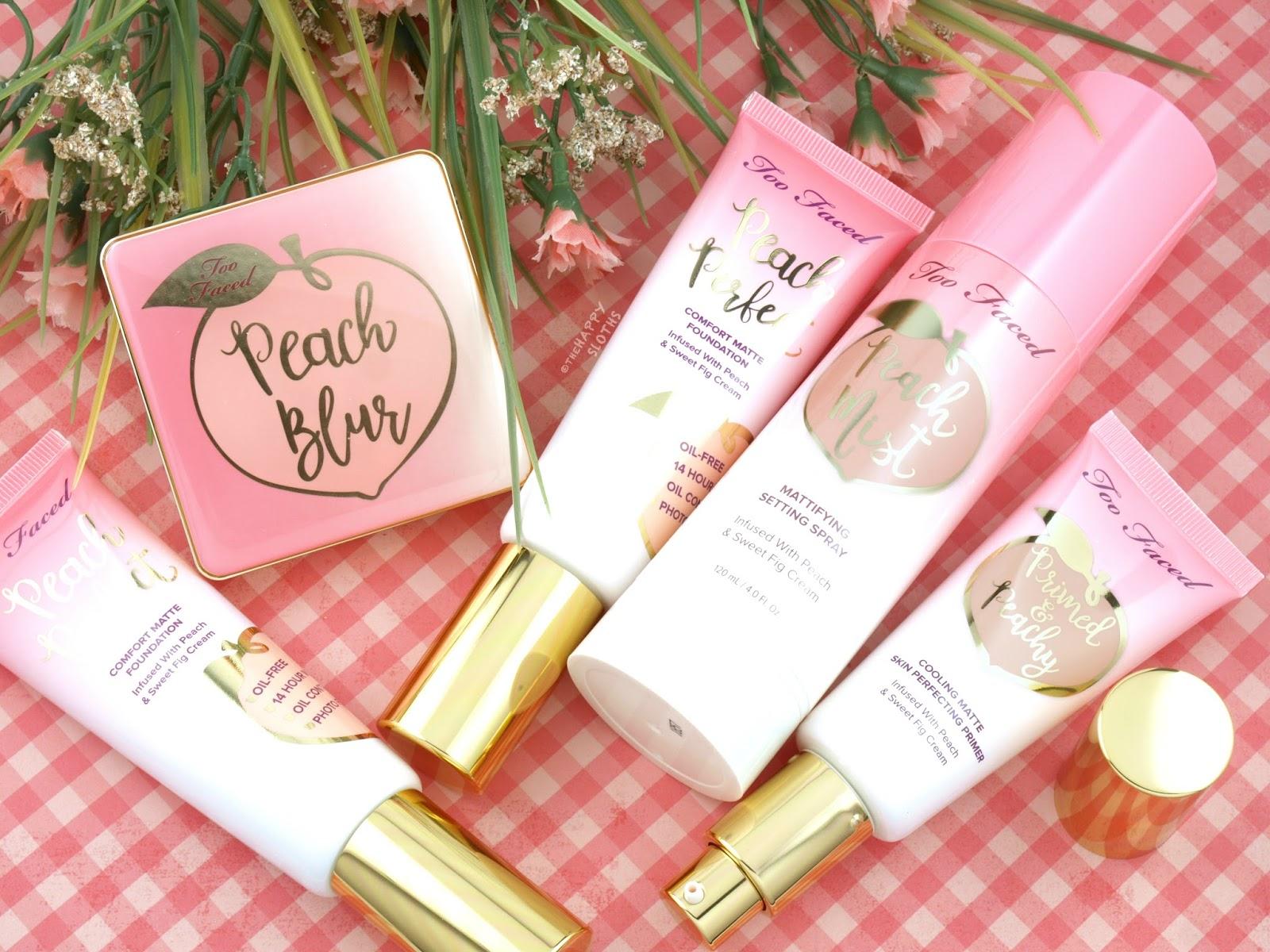 Too Faced Peaches & Cream Collection   Peach Blur Powder, Peach Perfect Foundation, Primed & Peachy Primer & Peach Mist Spray: Review and Swatches