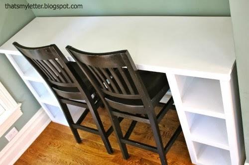 diy homework counter with storage shelves