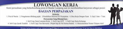 Loker Lampung Terbaru Mei 2016 di Perusahaan Swasta Sebagai Staff Perpajakan