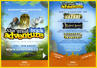 1 Sandown Park Racecourse Be Creative With Lego Event 17th-19th August; Brick Battles; Flyer; Handout; Mythical Beasts; News Views Etc...; Public Art; Safari; Small Scale World; smallscaleworld.blogspot.com; The great Brick Adventure; Warriors;