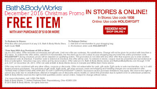 free Bath And Body Works coupons for december 2016