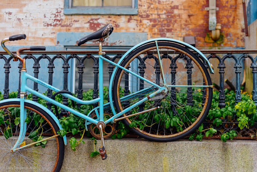 Portland, Maine USA November 2017 photo by Corey Templeton of a classic blue bicycle resting along a fence on Danforth Street.