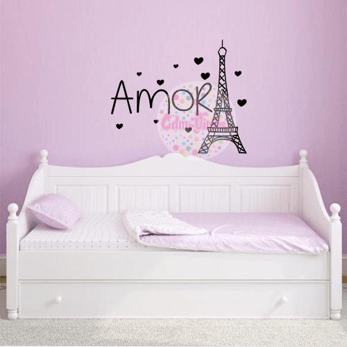 Vinilos Decorativos Para Paredes De Habitaciones.Vinilo Decorativo Torre Eiffel Amor W37 Cdm Vinilos