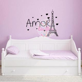 vinilo decorativo pared torre eiffel habitacion dormitorio cuarto niña nena infantil