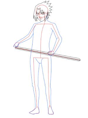cara menggambar Sasuke Hebi tahap 11