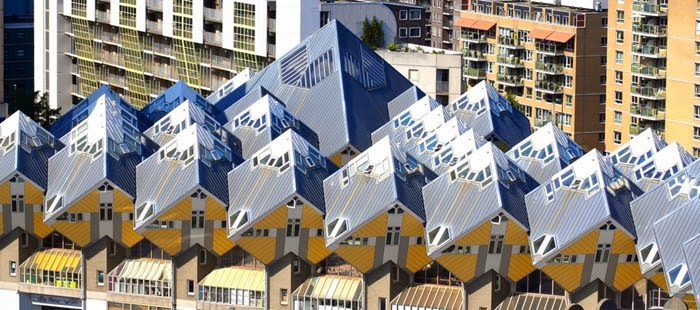 The Cubic Houses are a curious and magnificent architectural wonder located in Rotterdam, Netherlands.