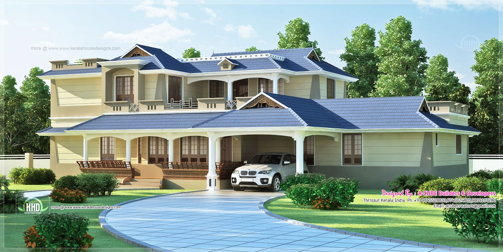 Luxury Sloping Roof 5 Bedroom Villa Exterior Kerala Home