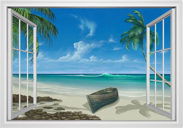 Ikkuna tapetti ranta meri maisematapetti 3d luonto