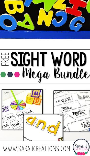 Free sight word mega bundle for newsletter subscribers. It includes over 75 pages of games, practice sheets, playdough mats and more.