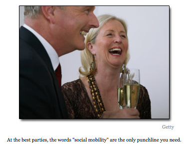 Photo of wealthy-looking people laughing with champagne glasses and caption At the best parties, the words social mobility are the only punchline you need