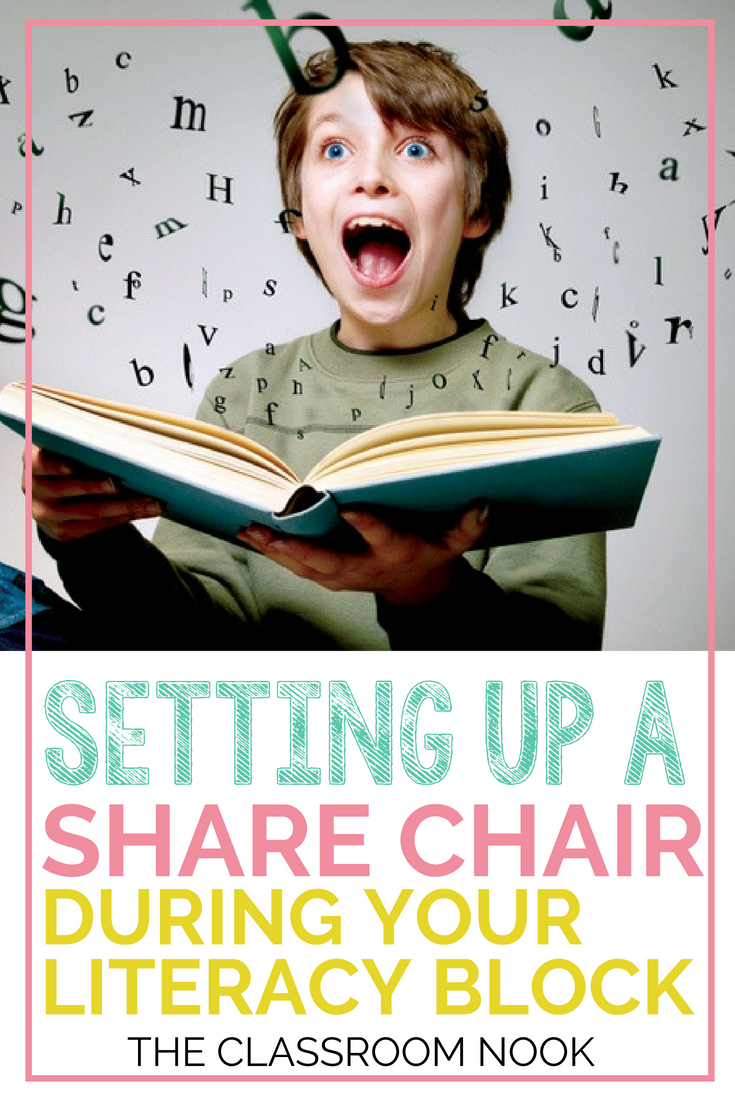 Setting up a share chair in your literacy block could be one of the most meaningful times in your reader's workshop and writer's workshop.  It'll spark authentic conversations between students and build a strong classroom community #classroomcommunity #readersworkshop #writersworkshop