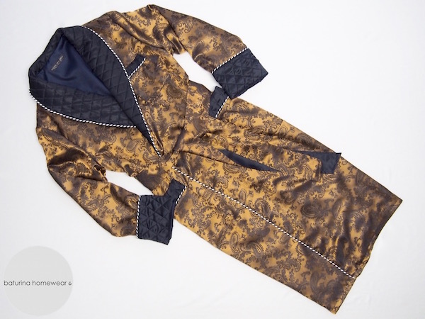 mens long gold silk dressing gown paisley navy blue quilted silk gentleman robe smoking jacket english