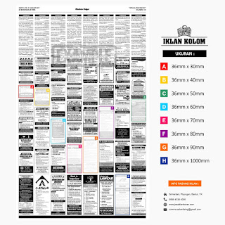 Contoh Iklan Kolom di koran beserta ukuran dan contoh