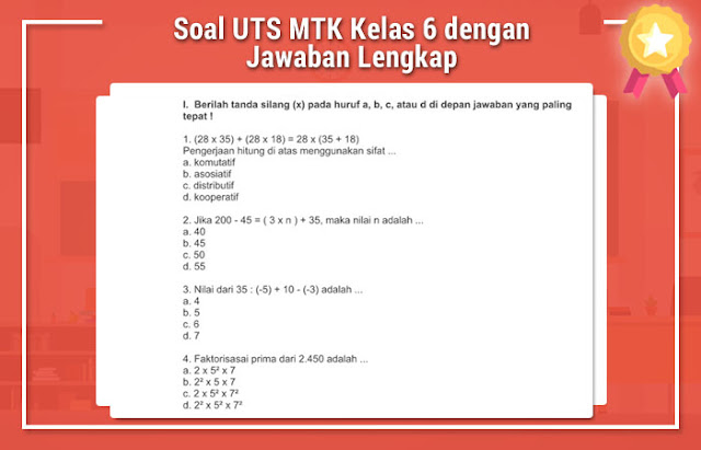 Soal UTS MTK Kelas 6 dengan Jawaban