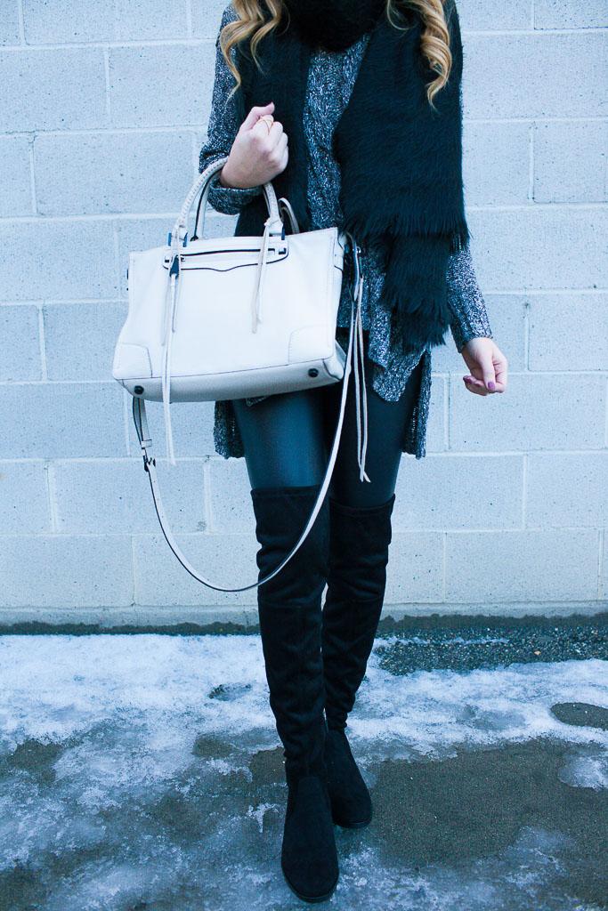 Monochromatic Winter Wear - Faux Leather Leggings and OTK Boots