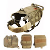 OneTigris Tactical Dog Molle Vest Harness Training Dog Vest with Detachable Pouches (Tan, X-Large)