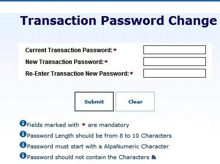 Change Login and Transaction Password : SBI Kiosk Banking Option