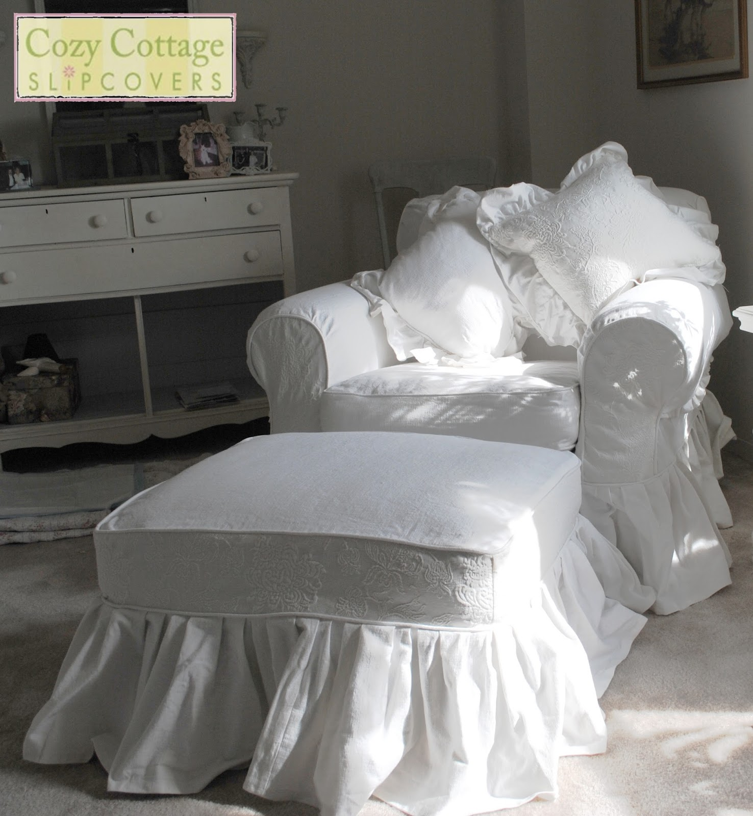 bedroom chair with skirt rattan egg cozy cottage slipcovers lola loves ruffles