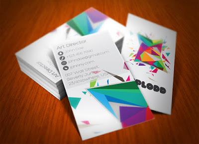 Tarjeta de presentación con polígonos de colores