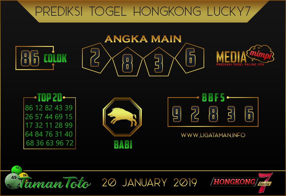 Prediksi Togel HONGKONG LUCKY7 TAMAN TOTO 20 JANUARI 2019