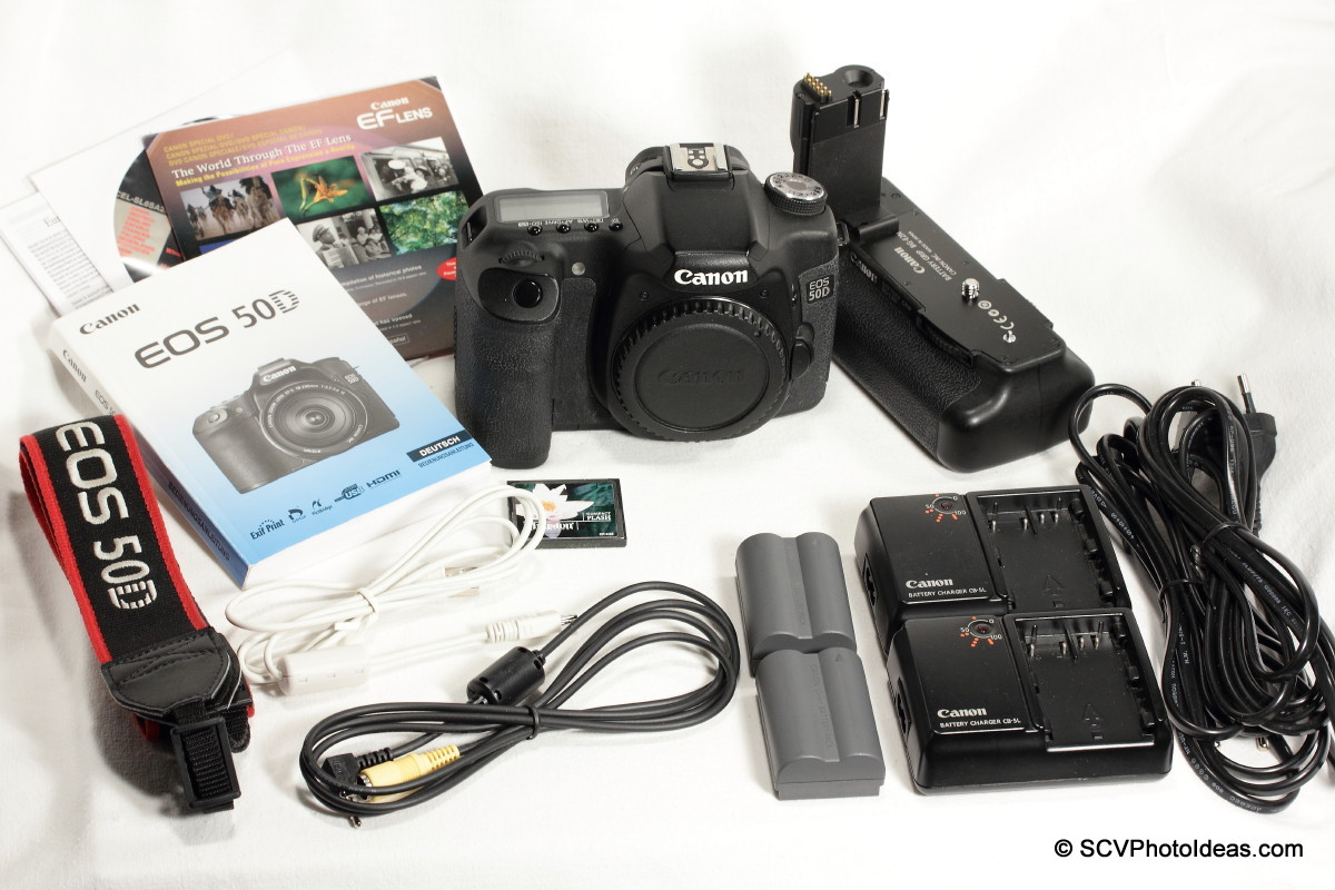 Canon EOS 50D Digital Camera box contents + extras