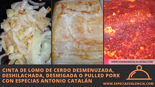 Cinta de lomo de cerdo desmenuzada, deshilachada, desmigada o pulled pork con Especias Antonio Catalán