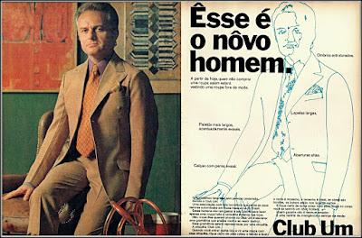 propaganda terno Club Um 1970, moda masculina anos 70, terno década de 70, 70's male fashion, anos 70, década de 70, propaganda anos 70, Oswaldo Hernandez,