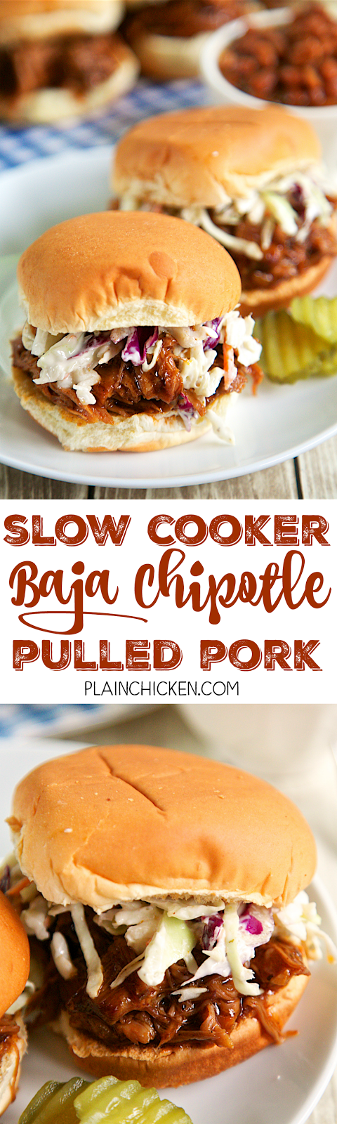 Slow Cooker Baja Chipotle Pulled Pork - only 4 ingredients! A little sweet and a little spicy. Cooks all day in the crock-pot. SO easy and it tastes AMAZING! Great for a crowd and tailgating! Serve as a sandwich, on a baked potato, over a salad or on top of nachos!