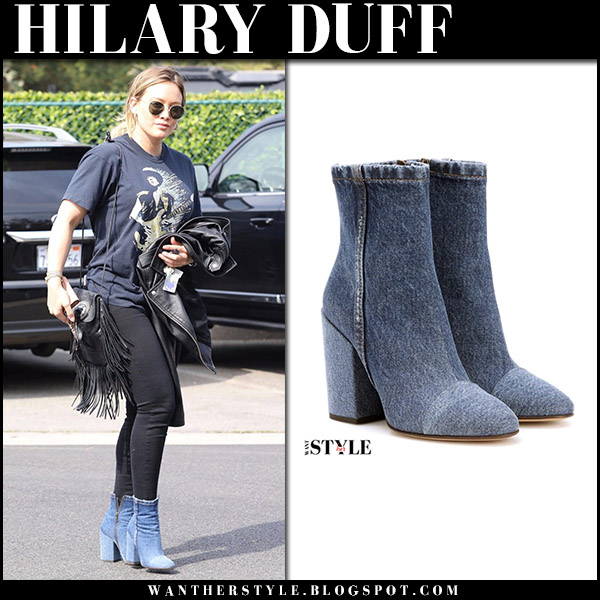 Hilary Duff in blue denim ankle boots dries van noten and black skinny jeans street style october 19 2017