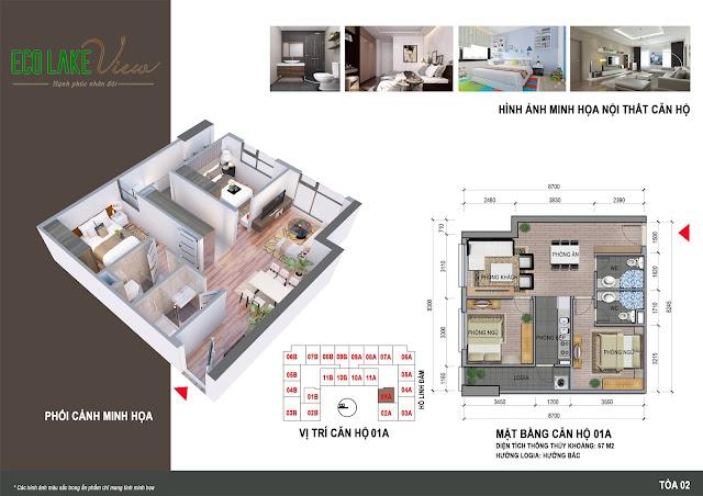 Thiết kế căn hộ 01A tòa HH2 Eco Lake View