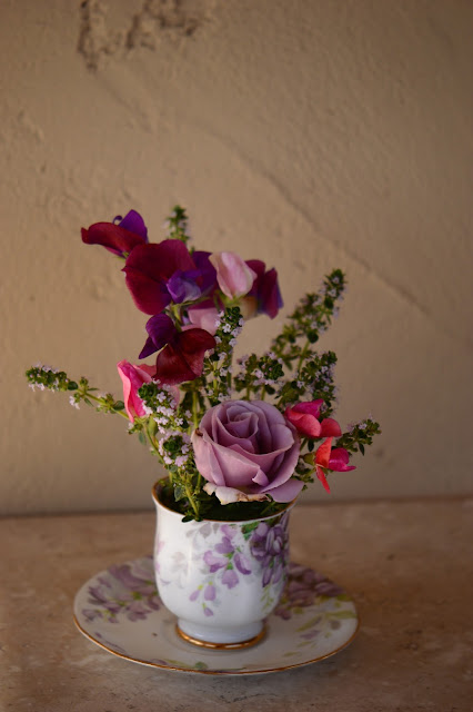monday vase meme, amy myers, sweet peas, rose, sterling silver, lemon thyme, small sunny garden, desert garden