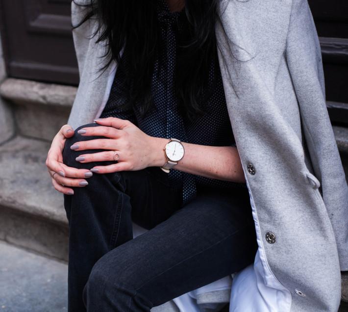 grey manicure