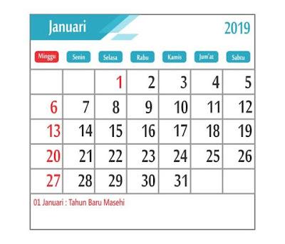 Kalender januari 2019 - tanggal merah