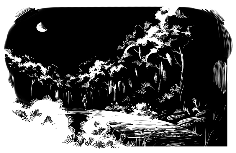 horror story lone man walking thru jungle in moonlit night illustration
